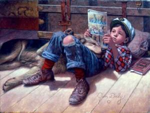 niño lee revista perro gorra
