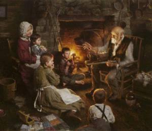 abuelo niñetos fuego