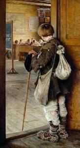 NICOLAI BOGDANOV BELSKY  niño pobre mira aula